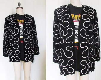 Black and White Boxy 80's Oversized Baggy Abstract Geometric Blazer Jacket