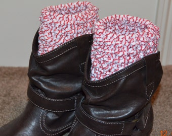 Handmade Child's Boot Cuffs - red and white