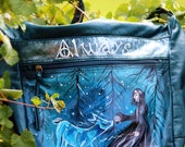 Harry potter handbag, backpack, book bag, snape, always, patronus, lilly, doe patronus, custom art, tattoo, wearable harry potter art, blue