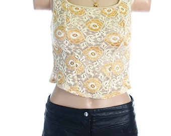 Vintage 90s St Michael Cream Gold Floral Lace Midriff Crop Vest Top Shirt UK 8 US 6