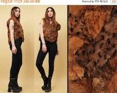 15% OFF 1DAY SALE 70s 80s Vtg Leopard Print Cavegirl Genuine Rabbit Fur Vest / Mock Raw Hemline Patchwork Punk Garage Rock N Roll / Sm Med