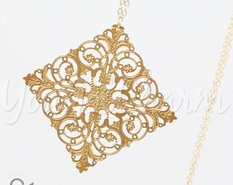 Pendant Necklace- Long Necklace- Long pendant Necklace- Filigree Pendant- Layered Necklace- Long and Layered Necklace- Filigree
