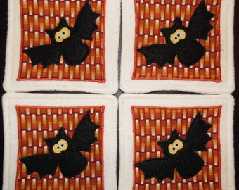 Primitive Whimsical Halloween BLACK BATS Coasters Mug Mats Hot Pads Trivets
