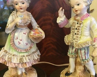 Porcelain Figural Boy and Girl Table Lamps