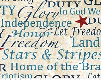 LAND of the FREE- Patriotic words on cream cotton print by the 1/2 yard Northcott STONEHENGE fabric 39195-30