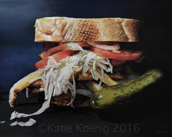 "18 x 24 Matted Giclée Reproduction Print of Original ""The Pitts-burger"" by Katie Koenig-Limited Edition"