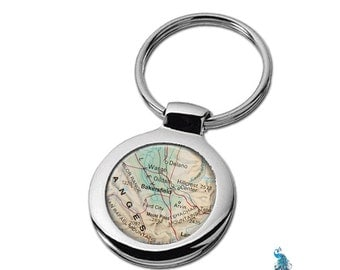 Map Keychain Bakersfield California Key Ring Fob