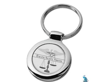 Personalized Attorney Keychain Scales of Justice Lawyer Gift Key Ring Fob