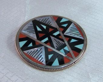 Zuni Leander and Lisa Othole Native American Inlaid Geometric Arrow Pendant/Brooch