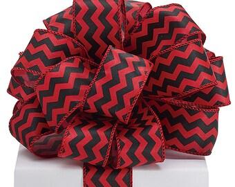 "5YDS x 1-1/2"" Red & Black Satin Zig Zag Lines Pattern Wired Edge RIBBON"