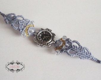 Macrame Watch in denim blue