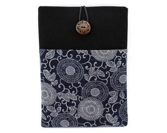 Retro iPad Air Case Front Pocket Tablet case Arabesque Chrysanthemum Navy