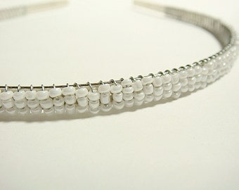 White Pearl Beaded Headband Alice Hair Band - Pearl Collection (Limited Edition)