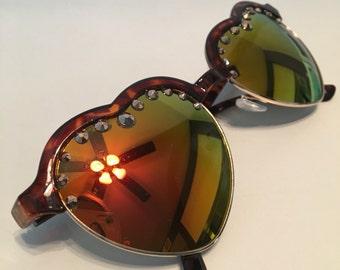 Heart aviators red/gold swarovski crystal