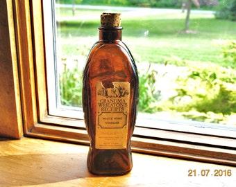 Vintage Wheaton  Grandma's Wheaton's Receipt's White Wine Vinegar Brown Fish Bottle