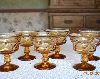 6 - Fostoria Amber Shebert Glasses in The Jamestown Pattern, 12 Available