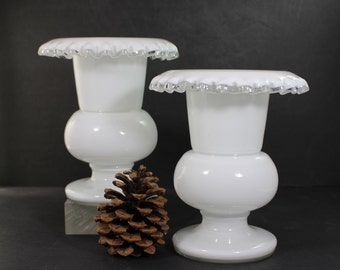 White Milk Glass Urn Vases x 2