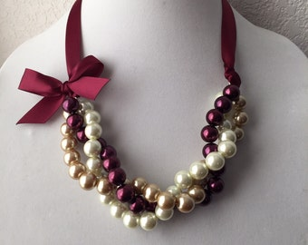 Twisted Ivory, Gold and Burgundy Pearl Necklace with Burgundy Ribbon Bow, Holiday Statement Necklace