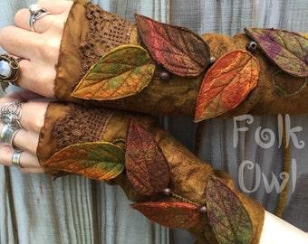 Autumn Faerie Cuffs-woodland cuffs-  forest gloves- Folkowl Cuffs - leaf cuffs -  Forest Cuffs - Faerie Cuffs -