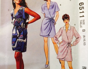 McCalls' 6511 Misses' Mock Wrapped Culotte Dress Pattern, UNCUT, Size 8-10-12, Casual Wear Vintage 1993