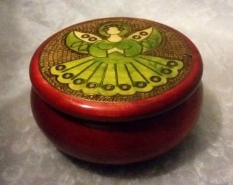 Vintage Round Wooden Angel Trinket Box/Pot
