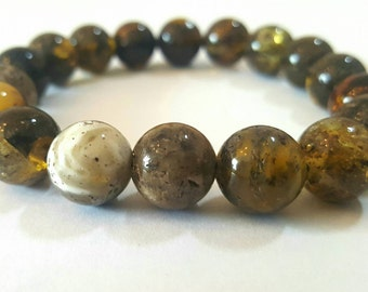 Baltic Amber Bracelet for Man, black amber bracelet, polished amber bracelet, unique, gift, янтарный браслет, 琥珀手鍊, 琥珀ブレスレット