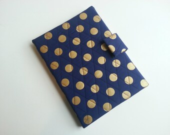 iPad/iPad air/iPad Pro 9.7/Kindle HD 8.9/10 inch/Samsung Tab A 9.7 cover in Navy/Gold Metallic print