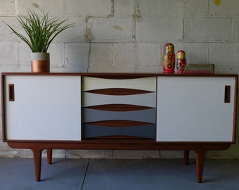Shades of GRAY Mid Century Modern styled CREDENZA media stand