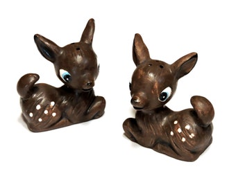 Vintage Ceramic Deer Salt and Pepper Shakers, Woodland Fawn Cottage Chic Kitsch Cabin Mountain Retreat Home Decor itsyourcountry