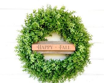 Fall Wreath-Boxwood Wreath-Fall Door Decor-Large Door Wreath-Sign Wreaths-HAPPY FALL-Autumn Wreath-Housewarming Gift-Scented Wreath