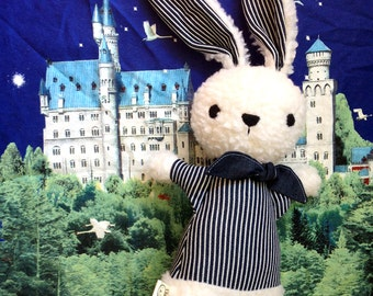 white bunny rabbit doll stuffed animal plushie with blue stripe shirt and neckerchief, new baby gift