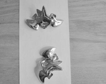 NINA RICCI Huge Love Doves Runway High Fashion  Modernist Rare Earrings