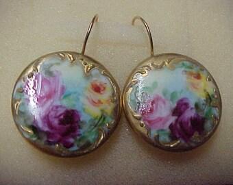 """Antique Victorian Enamel Earrings, 7/8"""" Diameter, 14K Yellow Gold Shepherd Ear Wires"""
