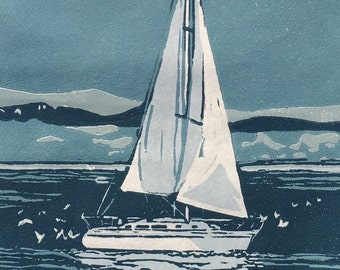 Test The Waters, linocut
