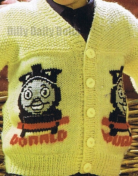 Thomas Tank Engine Intarsia Cardigan Pdf Knitting Pattern