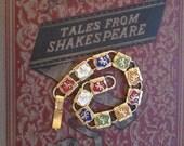 Vintage Gold Tone Lion Crest Enamel Shield Book Chain Bracelet Assorted Colored Lion Passant Lion Rampant