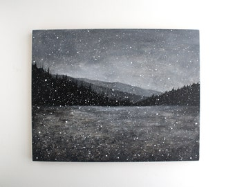 Black and White Snowfall Painting - 11 x 14