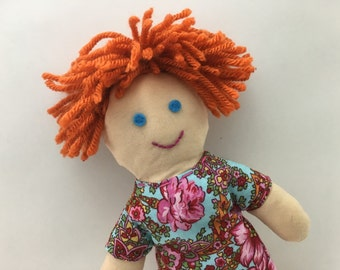 LUCY--cloth doll in blue pink floral dress--light skin, orange hair, blue eyes (FREE shipping in USA)