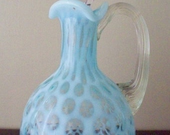 ON SALE Fenton Blue Opalescent Honeycomb Cruet Ribbed Handled