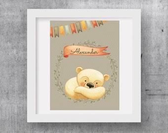 Woodland Nursery, Woodland Bear Wall Art,Customized Little Bear with your child's name,kids and baby decor,wall decor,digital print