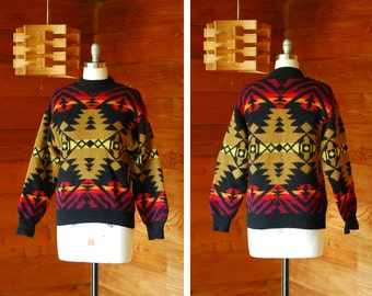 vintage United Colors of Benetton southwestern wool sweater / size small medium large