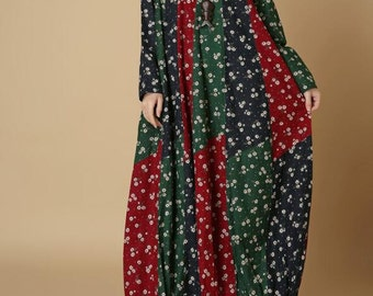 women long maxi dress Cotton and linen Loose long lantern dress