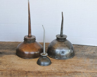 Three Vintage Oil Cans Thumb Oilers Eagle Others Assorted Mix
