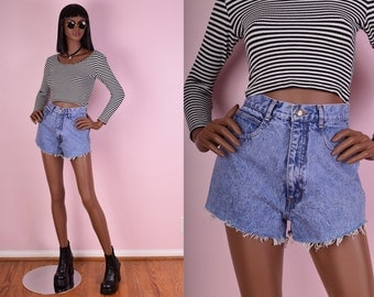 90s Blue Stone Wash High Waisted Denim Cutoff Shorts/ 26 Waist/ 1990s