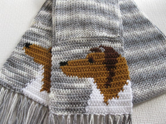 Collie Dog Scarf. Knitted scarf with collie or Shetland