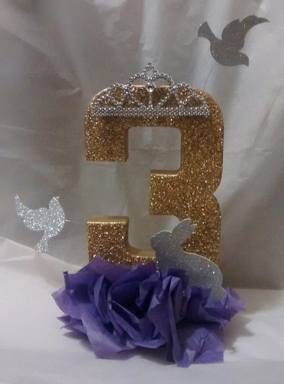 Items similar to sofia the first theme centerpiece for Glitter numbers for centerpieces