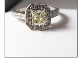 Estate 14k Radiant Cut Yellow Diamond and Halo Engagement Ring with Certification