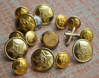 Vintage Soviet Russian military buttons.