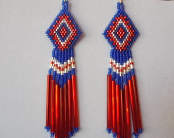 Native American Style Beaded Earrings in Dark Blue, Red and Silver Southwestern, Boho, Hippie, Gypsy, Brick Stitch, Peyote Ready to Ship