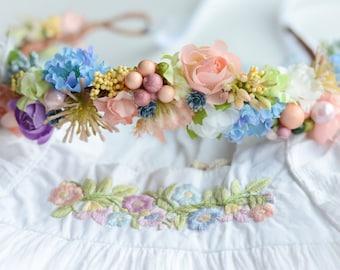 M2M Island Bloom Dress - Baby Flower Crown - Newborn Photo Prop - Vintage Inspired Prop - Floral Halo - Crown